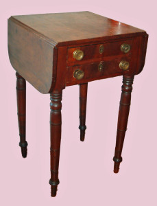 Two Drawer Drop Leaf Stand, Butterfly Leaf Supports, Mixed Woods