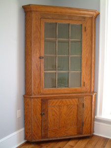 449 - 2 Piece, 12 light (1 x 12) Painted Corner Cupboard attributed to West Central Pennsylvania