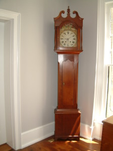 456 - c 1825 Tall Case Clock by Elijah Warner (Kentucky) and C1840 Works by Wolfgang Bininger, a Lancaster Ohio Clock and Watch maker
