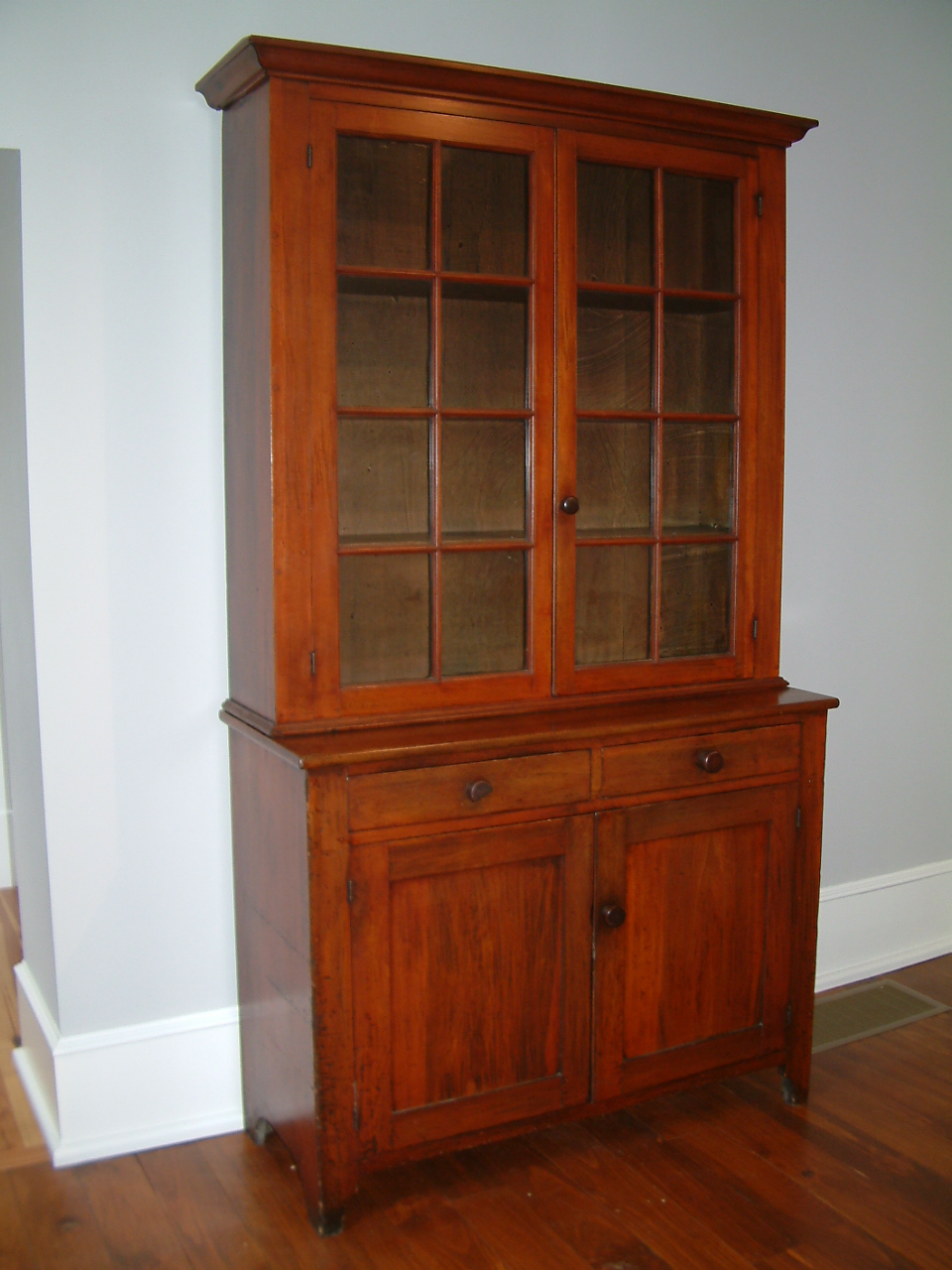 467 - 2 piece, 16 light (2 x 8) Cherry Stepback Cupboard attributed - Antique Furniture Bodenheimer-Mayer House