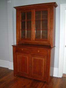 469 - c1840 Cherry 2 piece, 12 light (2 x 6) Stepback Cupboard w/ Pie Shelf