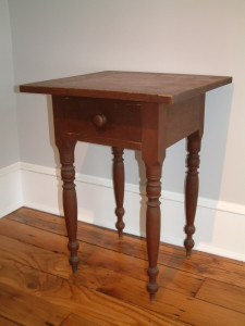 474 - Fairfield County Ohio Work Table with early red finish and scrubbed top