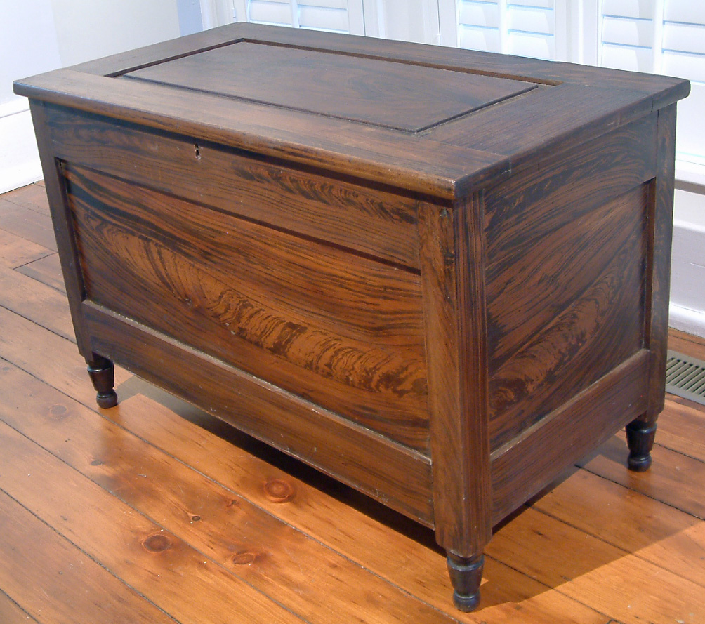 Painted Blanket Chest, signed on the back T. Van Sickle, Rushville O - Antique Furniture Bodenheimer-Mayer House