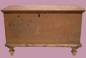 "Painted Miniature Blanket Chest with Till; Original Dry Surface; 18.5"" L x 8.25"" W x 12.5"" H"