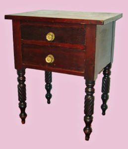 Two Drawer Walnut and Cherry Stand, Original Finish, Pressed Brass Pulls, c1835
