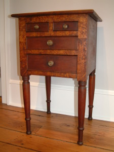 489 c1825 4 Drawer Sheraton Stand in Cherry with Apple Burl Trim, Attributed to Fairfield County Ohio