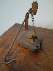 Rare c1770 Betty Lamp with Bird Lock on Grease Door - Original Hanger Hook and Wick Pick