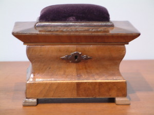 Mahogany Sewing or Trinket Box - Pin Cushion Top - 1843 and Initials inscribed in copper on top