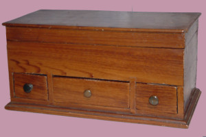 Three Drawer, Grain Painted Lift Lid Box, Dovetail Construction