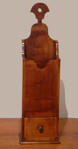 Connecticut River Valley Hanging Pipe Box - Cherry - Dovetailed Drawer - c1760